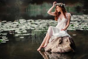 White Dress Girl Pond Side Wallpaper