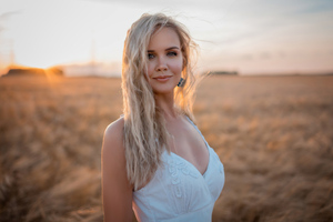White Dress Gray Eyes Hair In Face 4k