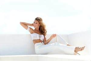 White Dress Model Outdoors 5k Wallpaper