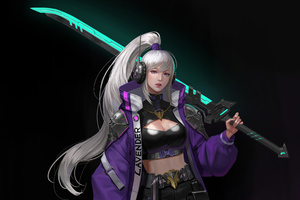 White Hair Asian With Sword Wallpaper