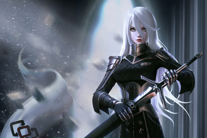 White Hair Black Dress Warrior Wallpaper
