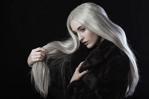 White Hair Girl Black Coat 4k Wallpaper