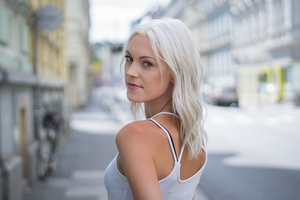 White Hair Girl Looking Back 4k Wallpaper