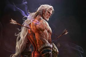 White Hair Warrior 4k Wallpaper