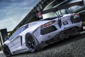 White Lamborghini Aventador 5k