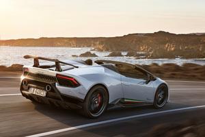 White Lamborghini Huracan Perfomante Spyder Rear 2018