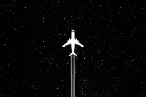 White Plane Dark Minimal 4k