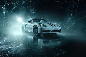 White Porsche Cayman 4k Wallpaper