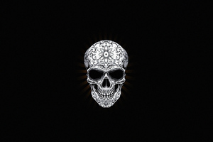 White Skull Dark 4k Wallpaper