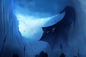 White Walker Dragon Breaking The Wall Wallpaper