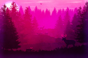 Wild Animals Forest Pink Minimalism 5k