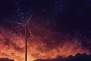 Wind Turbine Stars Night Art 4k Wallpaper