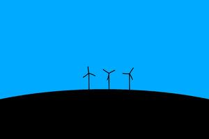 Wind Turbines Blue Minimal Art 4k Wallpaper