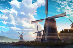 Windmill Anime Scenery 4k Wallpaper