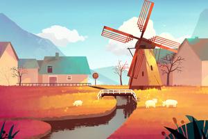 Windmill Art 4k Wallpaper
