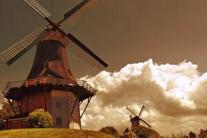 Windmill Artist Wallpaper