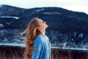 Windy Weather Snow Closed Eyes Girl