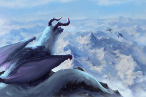Winter Horns Dragon Wallpaper