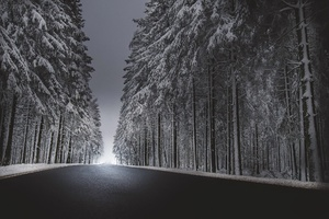 Winter Road Asphalt Snow Wallpaper