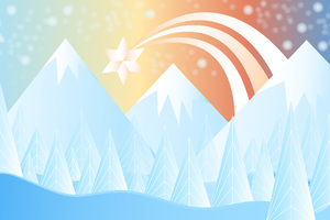 Winter Snow Christmas Mountains Minimalism Wallpaper