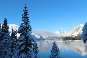 Winter Snow Lake Mountain Wallpaper