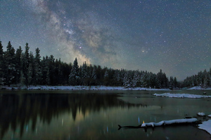 Winter Snow Milky Way Dark Horse 4k Wallpaper