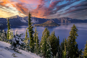 Winter Snow Trees Mountains Landscape Hdr 4k Wallpaper
