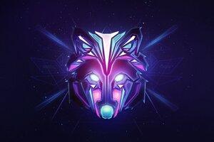 Wolf Colorful Minimalism Wallpaper