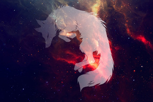 Wolf Fantasy Art Space Wallpaper