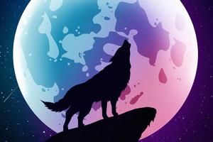 Wolf Howling Moon Night Minimal 5k Wallpaper