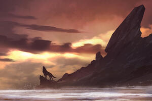 Wolf Howling On Island