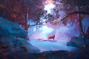 Wolf In Red Magical Woods 4k