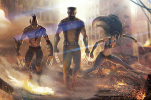 Wolverine And His Team Wallpaper