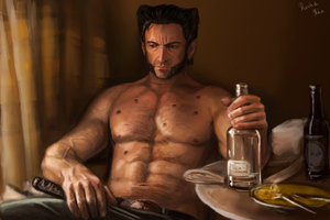 Wolverine Drinking Wallpaper