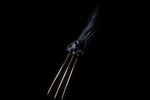 Wolverine Gold Claws Dark Minimal 5k Wallpaper