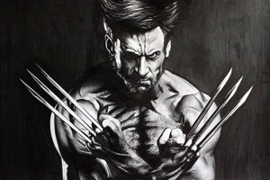 Wolverine Monochrome Wallpaper