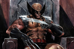 Wolverine Sitting On Throne Wallpaper