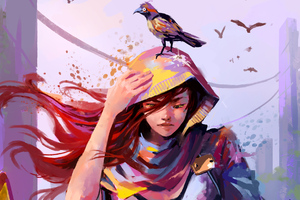 Woman Colorful Bird Digital Painting Wallpaper