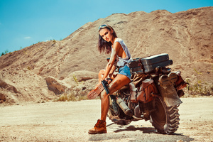 Woman With Gun And Motobike On The Desert 5k
