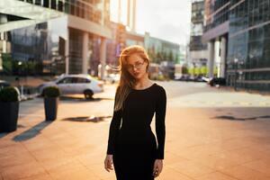 Women Black Long Sleeve Dress 5k Wallpaper