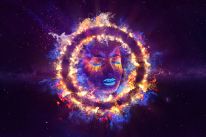 Women Closed Eyes Fire Neon Galaxy Art 5k Wallpaper