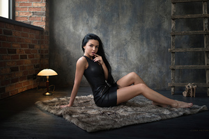 Women Leather Clothing Black Hair 4k Wallpaper