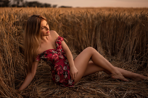 Women Long Hair Brunette Sitting Field 4k Wallpaper
