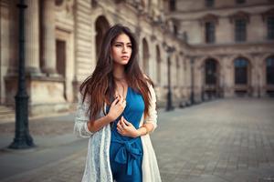 Women Looking Away Blue Dress 4k Wallpaper