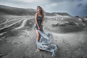 Women Outdoor Dress Sand Sky 5k Wallpaper