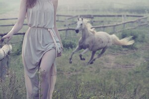 Women Outdoor With White Horse Wallpaper
