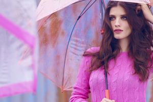 Women Pink Sweater With Umbrella Wallpaper