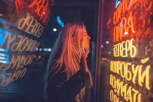 Women Reflection Blonde Long Hair Neon 4k Wallpaper