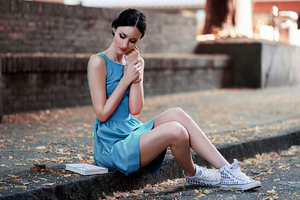 Women Sitting Sneakers Depth Of Field 4k Wallpaper
