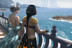 Women Standing At Balcony Looking Sea Digital Art Fantasy Girls